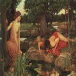 John William Waterhouse (6 April 1849  10 February 1917)  Echo and Narcissus  Oil on canvas, 1903  109.2 cm &#215; 189.2 cm (43.0 in &#215; 74.5 in)  Walker Art Gallery, Liverpool, United Kingdom